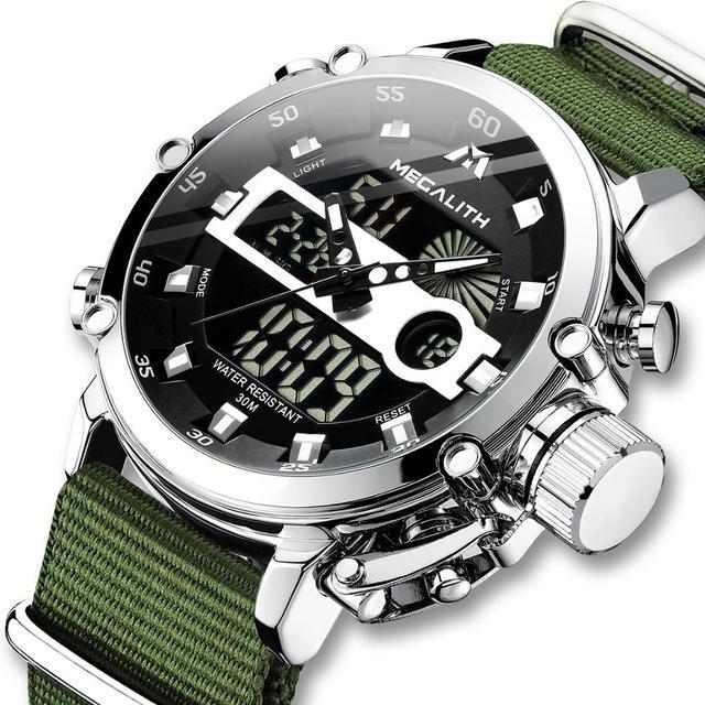 MEGALITH Sport Casual zegarki mężczyźni Luminous wodoodporne mężczyźni Top marka luksusowe data LED analogowy zegarek kwarcowy zegar Relogio Masculino