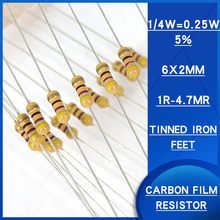 100pcs 1/4w 5% Carbon film resistor 1R-4.7MR ohm resistance Watts 0.25 Precision5 Various specifications are available resistenc