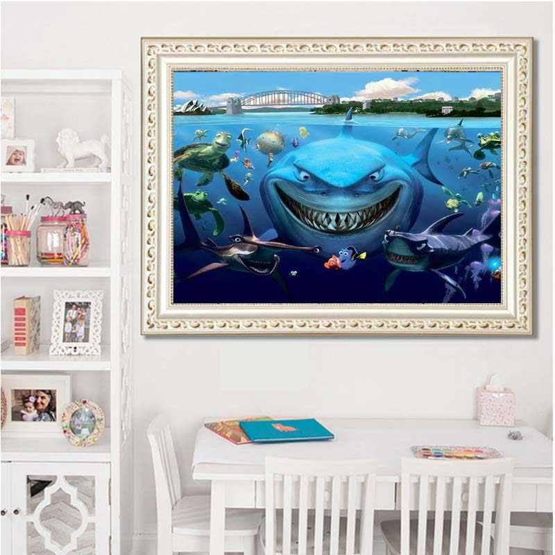 ألواح بها بنفسك ألواح تلوين حرفية لامعة القرش جميع 5D الماس التطريز الكرتون السلاحف دائرية من الماس الراتنج الحفر فسيفساء صور ديكور المنزل