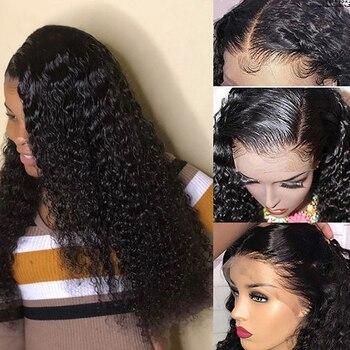 13x6 Profundo Dianteira Do Laço Encaracolado Perucas De Cabelo Humano Lace Wig Glueless Virgem Falso Couro Cabeludo Onda Frontal Para As Mulheres DJSbeauty