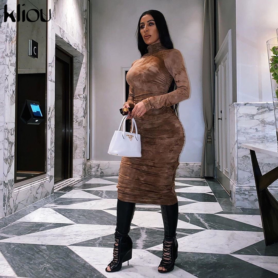 Kliou spring new high quality print turtleneck bodycon midi dress woman 2020 casual high street pleated slim zipper dress mujer 4
