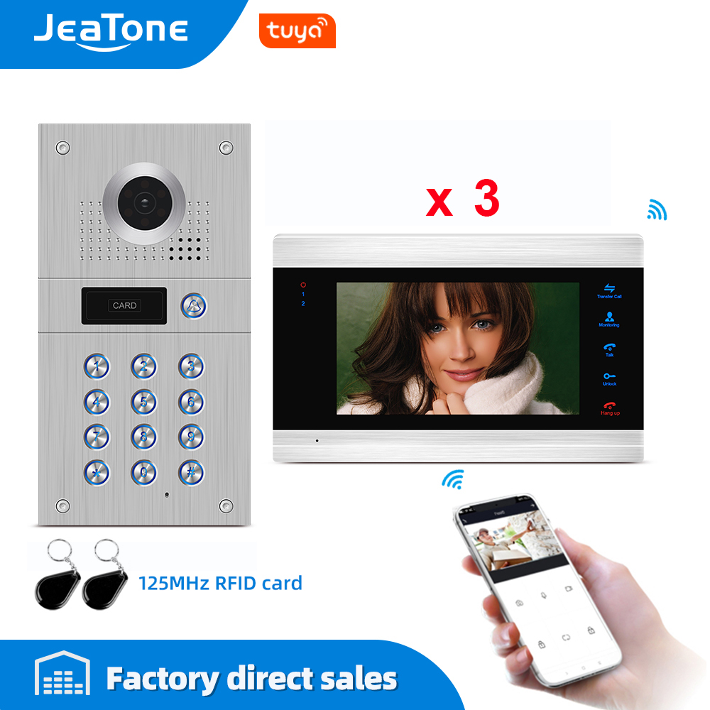 Tuya Smart Free App Video Door Phone WiFi Video Intercom 3 Monitors 960P HD Security Access Control System Code Keypad RFID Card