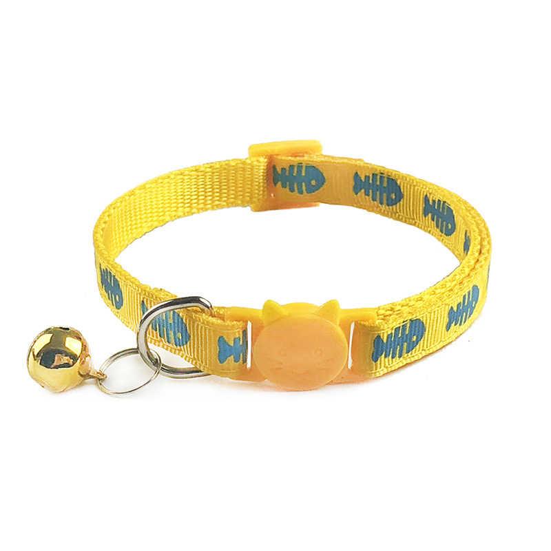 Adjustable Kucing Kerah Lucu Tulang Ikan Cetak Breakaway Nilon Anak Hewan Peliharaan Anjing Kucing Kucing Kerah dengan Lonceng 19-32Cm 1.0Cm Drop Pengiriman