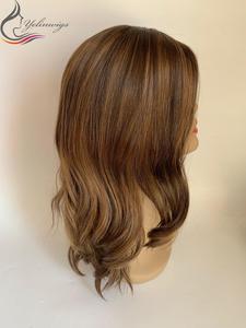 Menschliches Haar Jüdische Perücke Kosher Perücke Mode Farbe Wavy Top Europäischen Reines Haar Perücken 130% Dichte