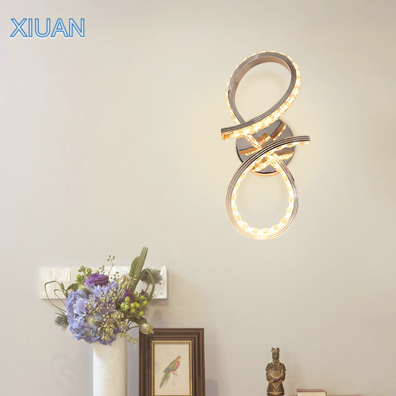 20W Creative Modern Cristal Wall Lamps Spiral Aluminium K9 Crystal Round LED Indoor Wall Lights for