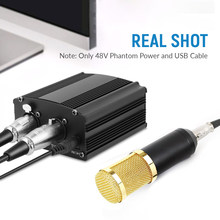 Microphone de Studio bm 800, 48V, USB, alimentation fantôme, karaoké, carte son, ordinateur, avec câble XLR
