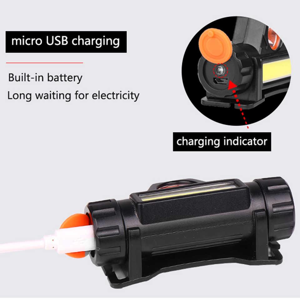 XP-G Q5 gebaut-in 18650 batterie LED scheinwerfer COB arbeit licht 2 licht modus mit magnet Wasserdicht scheinwerfer kopf lampe taschenlampe