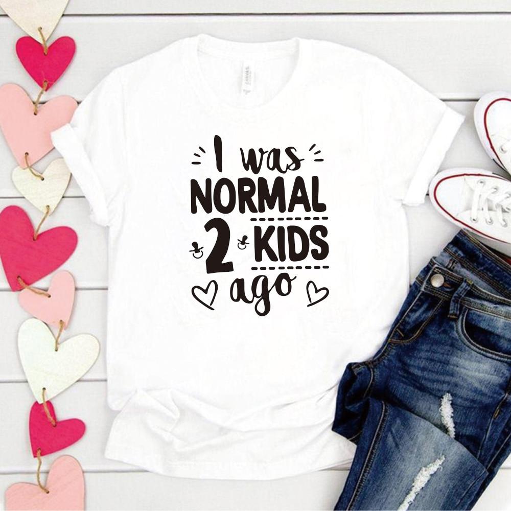 Ero normale 2 bambini fa stampa T-shirt da donna manica corta Mom Life T-shirt donna top Tee festa della mamma regalo per abiti da donna