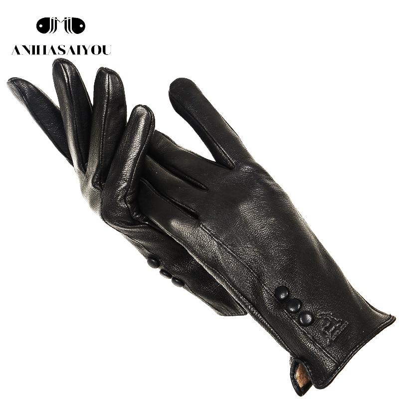 Fashion Simple Warm Women Leather Gloves,real Leather Women's Winter Mittens,Black Buckskin  Women Gloves - 2280
