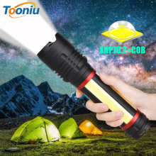 Multifunction LED Flashlight XHP70.2+COB Super Bright Tactical Torch Waterproof Zoom Camping Light Built-in 5000mAh Battery