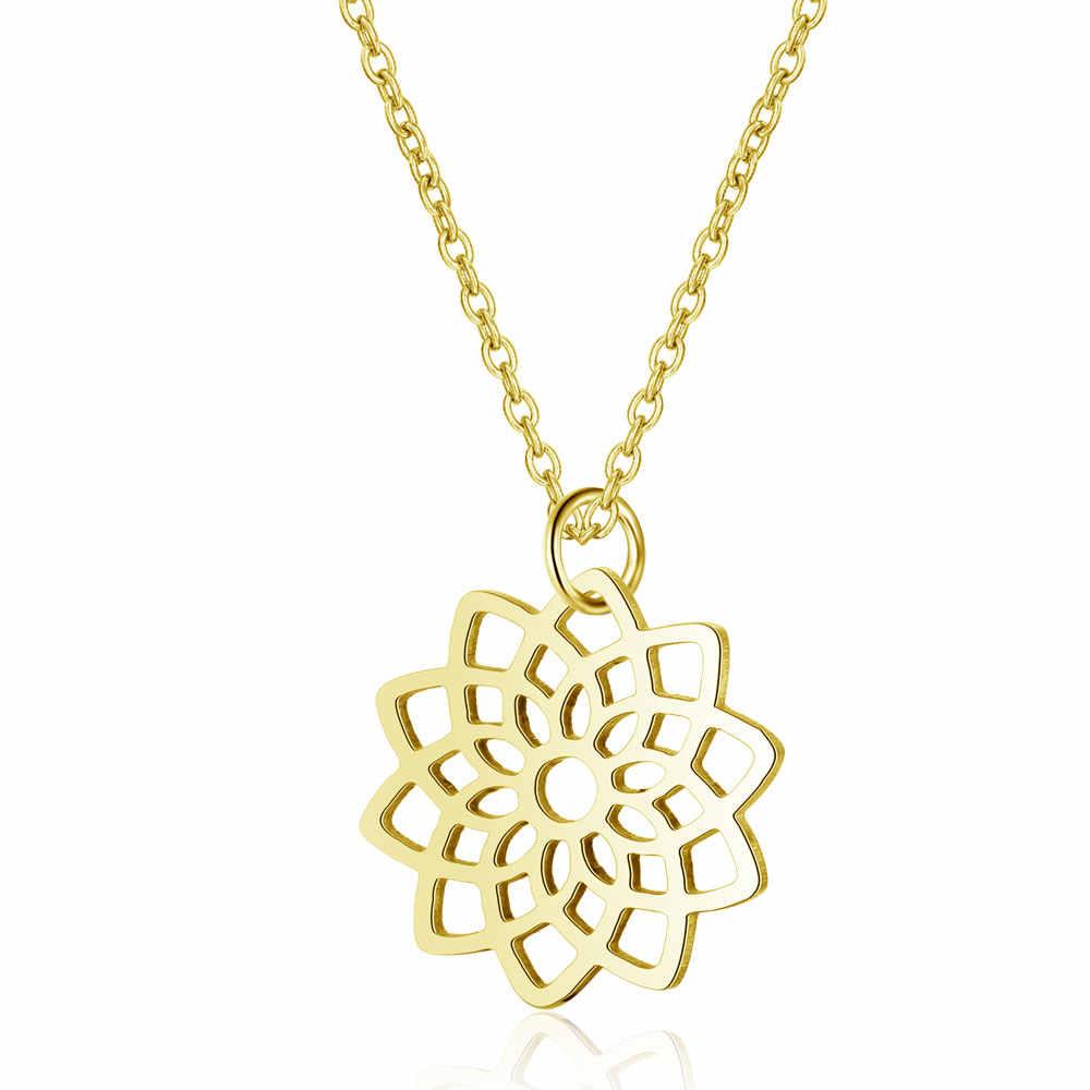 316L Nam Dây Vòng Cổ Vàng Nữ Choker Trang Sức 40cm + Thiên Thần Lông Lotus Luân Xa Trái Tim Ngôi Sao Fatima Không Bao Giờ thay đổi