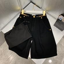 Luxury Brand Black Denim Shorts for Women 2021 Summer New Casual Streetwear High Waisted Zipper Straight Chain Mini Jeans Shorts