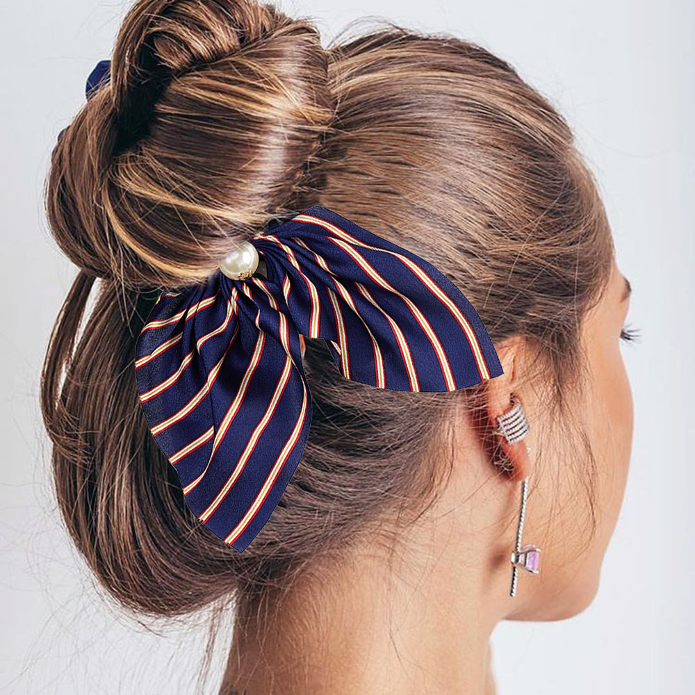 New Arrivals Chiffon Floral Printed Pearls Bowknot Silk Hair Scrunchie Women Ponytail Holder Hair Tie Hair Rope Hair Accessories