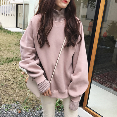 Fake Two Sweater Women Spring Fall Long Sleeve Knitted Sweater Plus Size Black Turtleneck Thick Sweet Korean Loose Sweater Girls