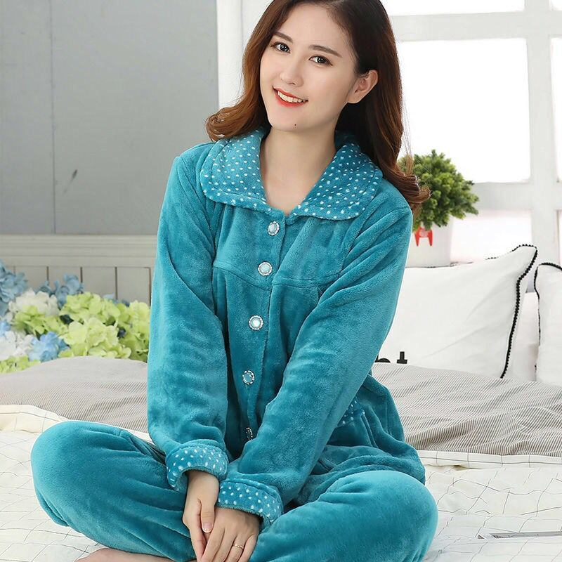 Pajama Suit Female Para Winter Thick Flannel Cute Cake Print Warm Pajama Set Long Sleeve Full Trousers Two Piece 2019 Sleepwear