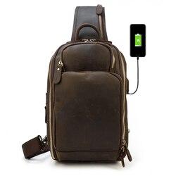 MAHEU Новое поступление мужская кожаная нагрудная сумка на одно плечо рюкзак нагрудная сумка из натуральной кожи сумка crosbody с USB кабелем