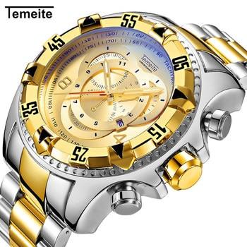 цена на Temeite Gold Men Watch Top Brand Luxury Quartz Wristwatch Big Dial Stainless Steel Watches Male Fashion Sport Relogio Masculino