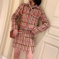 High Quality Tweed 2 Piece Set 2019 Fall Designer Pink Plaid Tweed Jacket Skirt Suit Single Breasted Wool Coat & One Step Skirt