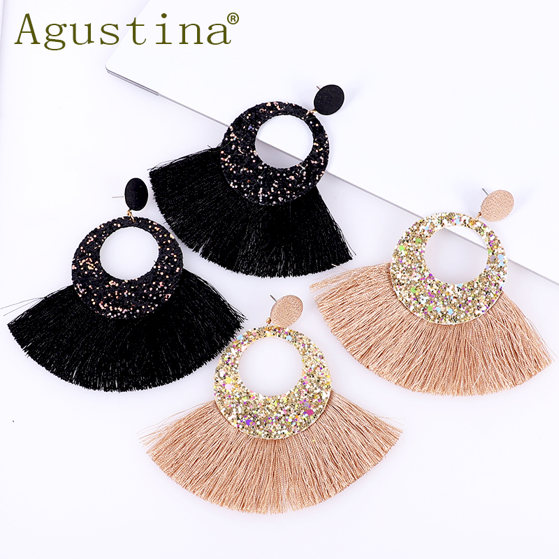 Agustina 2019 Black Earrings For Women Tassel Earings Bohemian Drop Fashion Punk Minimalist Jewelry Dangle African Fringe Ladies