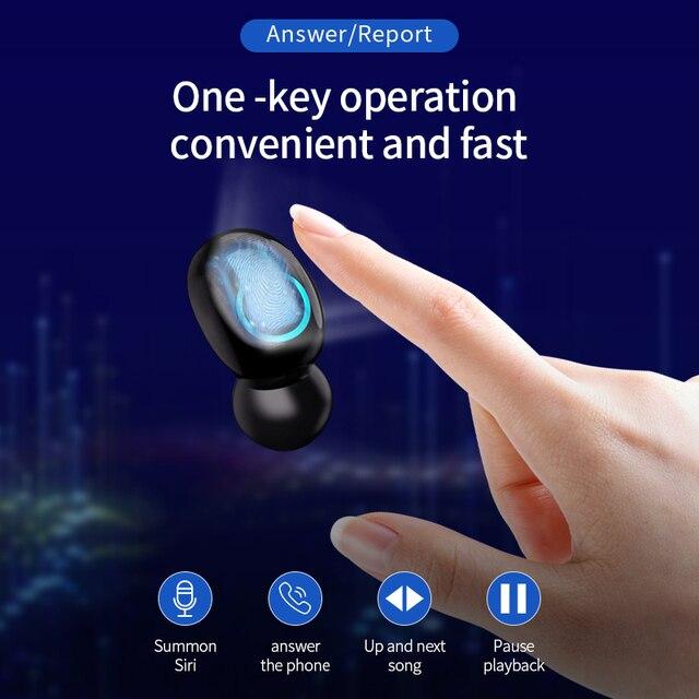 Q66 Bluetooth V5.0 słuchawki HD Stero podwójny mikrofon słuchawki sportowe wodoodporne słuchawki douszne 6000mAh baterii etui z funkcją ładowania do telefonu, komputera