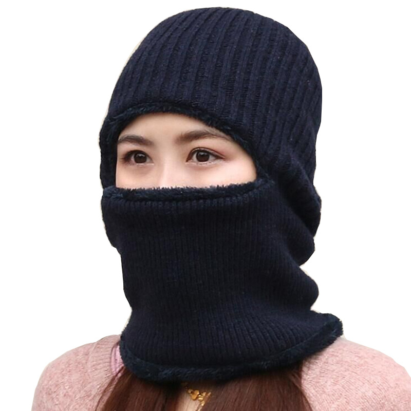 Sparsil Women Men Winter Knitted Face Mask Ear Protector Hat Scarf 3 Set Velvet Thicken Cover Ear Collar Couples Bonnet Couples