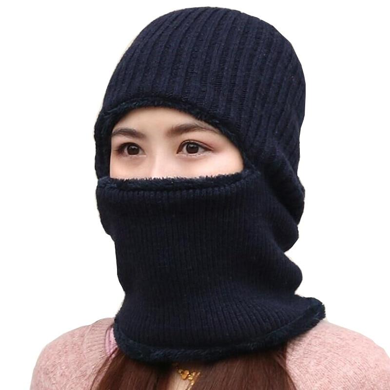 Sparsil Women Men Winter Knitted Face Mask Ear Protector Hat Scarf 3 Set Velvet Thicken Cover Ear Collar Couples Bonnet Couples