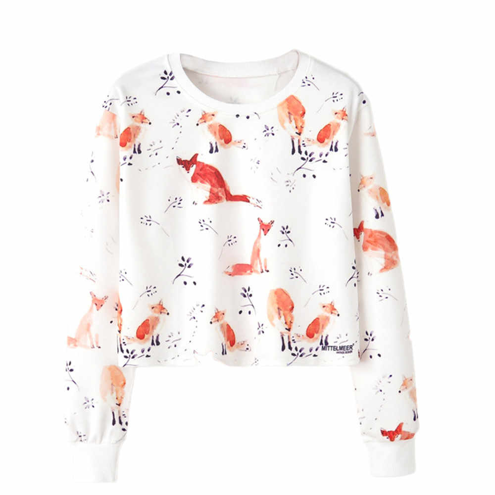 Women Girls sweatshirt pullovers kawaii fox Printed Long Sleeve friends Jumper Pullover Casual Top Blouse Tracksuit moletom 2019