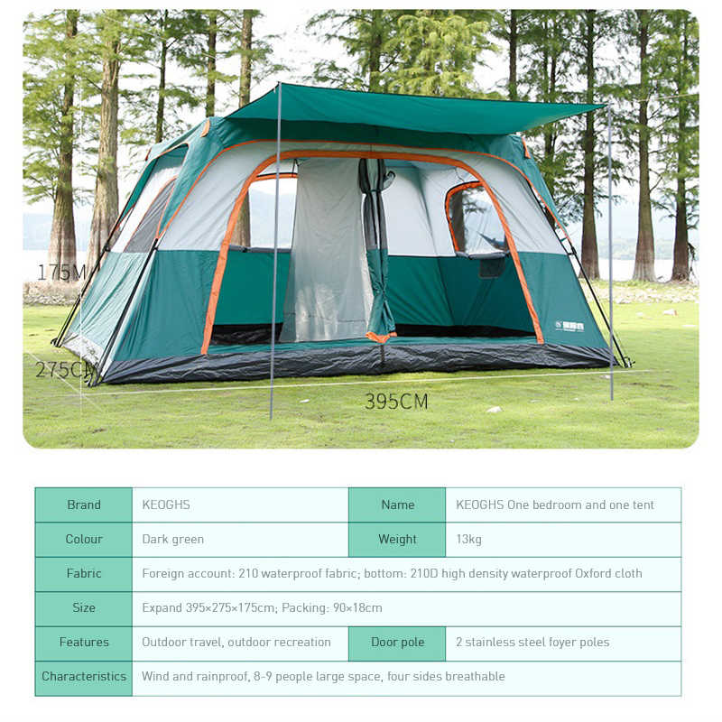 8-12 شخص خيمة التلقائي خيمة غرفة نوم واحدة غرفة المعيشة الأسرة غير نافذ للمطر متعدد شخص التخييم خيمة طبقة مزدوجة مقاوم للماء
