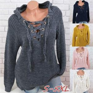 Women's Sweaters Autumn Pullover Bandage Sexy V-neck Women's Top Cross Strap Large Size Lace-up Sweater