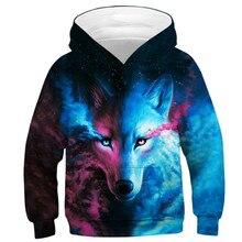 หมาป่า 3D พิมพ์เด็กชายหญิง Hoodies วัยรุ่นฤดูใบไม้ผลิฤดูใบไม้ร่วง Outerwear เด็ก Hooded Sweatshirt เสื้อผ้าเด็กแขนยาวเสื้อ