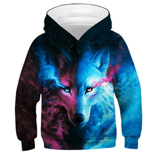 Image 1 - Wolf 3D Print Boys Girls Hoodies Teens Spring Autumn Outerwear Kids Hooded Sweatshirt Clothes Children Long Sleeve Pullover Tops