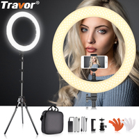 Travor LED Ring Light Dimmable Bi color 18 240PCS Annular Lamp&Tripod Studio LED Ring Photography Lighting For Camera/Photo