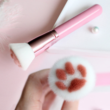 1Pcs Cat Claw Shape Makeup Brushes Kawaii Foundation Brush Powder Brush Birch Handle Man-Made Fiber Hair Beauty Tool