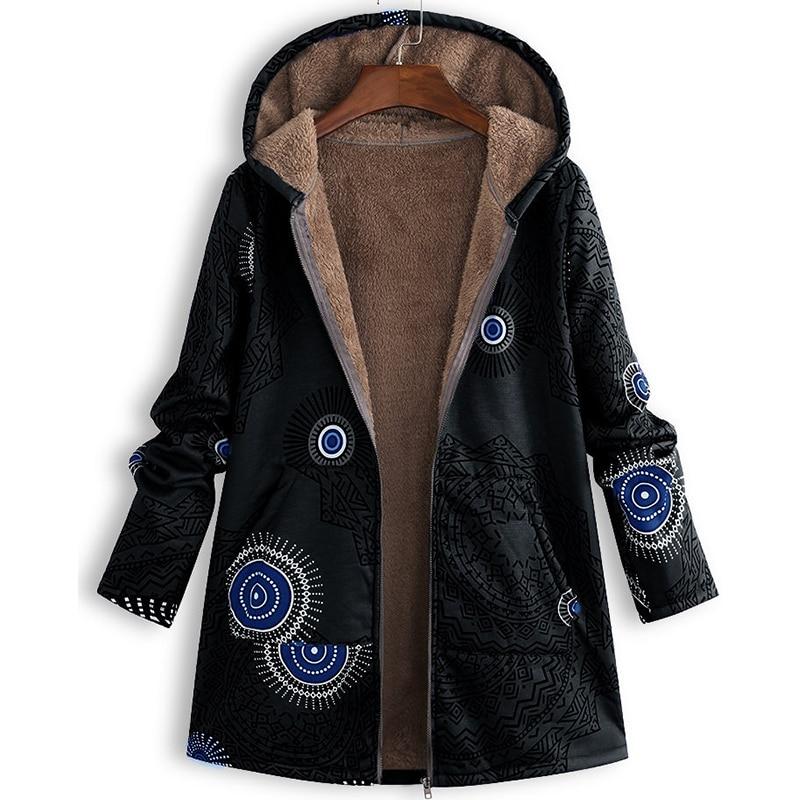 Chic Print Plush Women's Coat Korean Version Hooded Zipper Streetwear Sweet Style Leisure Woman Long Overcoat Winter 2019