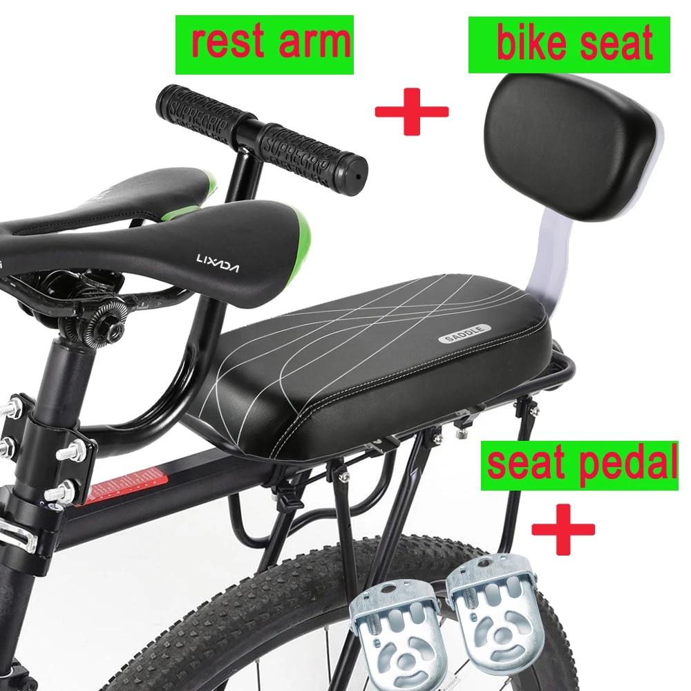Universal Cycling Kit + Installing Repairing Tools Set Bonus Handlebar Bell Backseat Armrest Handrail Foldable Hidden Bicycle Footrests CenterZ Bike Rear Seat Cushion with Safety Backrest