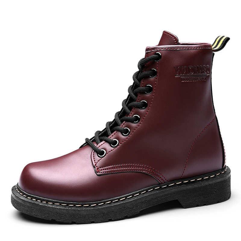 Forenjoy Martens Khởi Động Người Phụ Nữ Giày Da Mùa Đông Ấm Ủng Mắt Cá Chân Giày Cho Nữ Tiến Sĩ Xe Máy Mắt Cá Chân Oxford Ủng Martins
