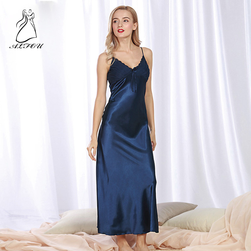 Women Sleep dress ladies summer long straps nightdress female large size 3XL Lace Sexy Lingerie   Nightgown   Sleepwear   Sleepshirts