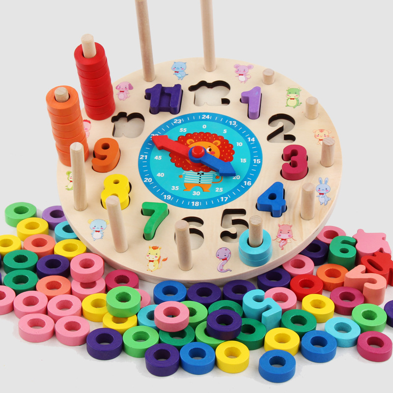 Rainbow Digital Clock kindergarten supplies Learning Clock 0 12 Wooden clock cognitive learning education ring children 39 s toys in Puzzles from Toys amp Hobbies