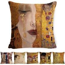 Gustav óleo de Klimt pintura fundas de almohada decorativas patrón dorado estampado funda de almohada Vintage funda de cojín sofá funda de almohada para silla cojines decorativos para sof
