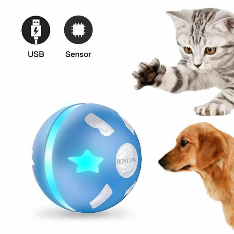 Электрические игрушки для домашних собак, умный индукционный игрушечный мяч для питомца, игрушка для кошки, usb зарядка, светодиодный фонарик, автоматическая интерактивная игрушка для домашних животных