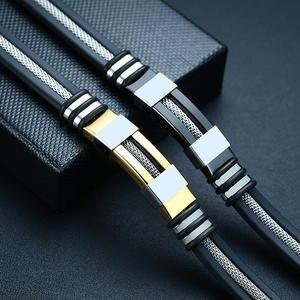 Vnox Stainless Steel Bracelet Men Wrist Band Black Grooved Rudder Silicone Mesh Link