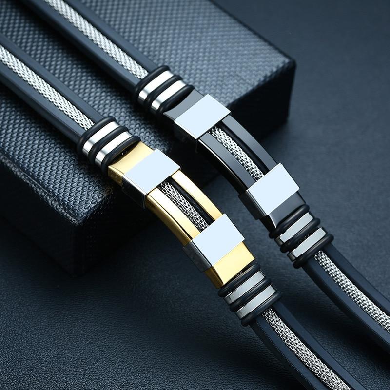 Vnox Stainless Steel Bracelet Men Wrist Band Black Grooved Rudder Silicone Mesh Link Insert Punk Wristband Stylish Casual Bangle