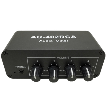 Multi-Source RCA Mixer Stereo o Reverberator o Switch Switcher 4 Input 2 Output Driver Headphone Volume Control