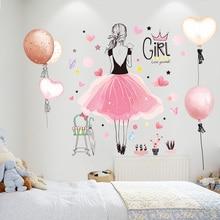 [shijuekongjian] Cartoon Girl Wall Stickers PVC Material DIY Balloons Mural Decals for House Living Room Kids Bedroom Decoration
