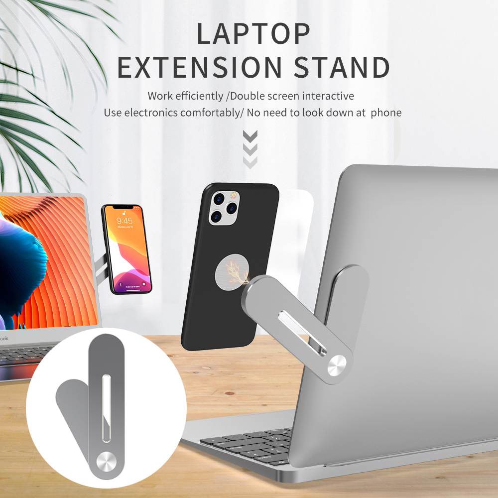 Magnetic Phone Holder Side Mount Clip Fixed Clip on Flat & Slim Laptop Monitor Cellphone Stand for Macbook iPad iPhone Laptop