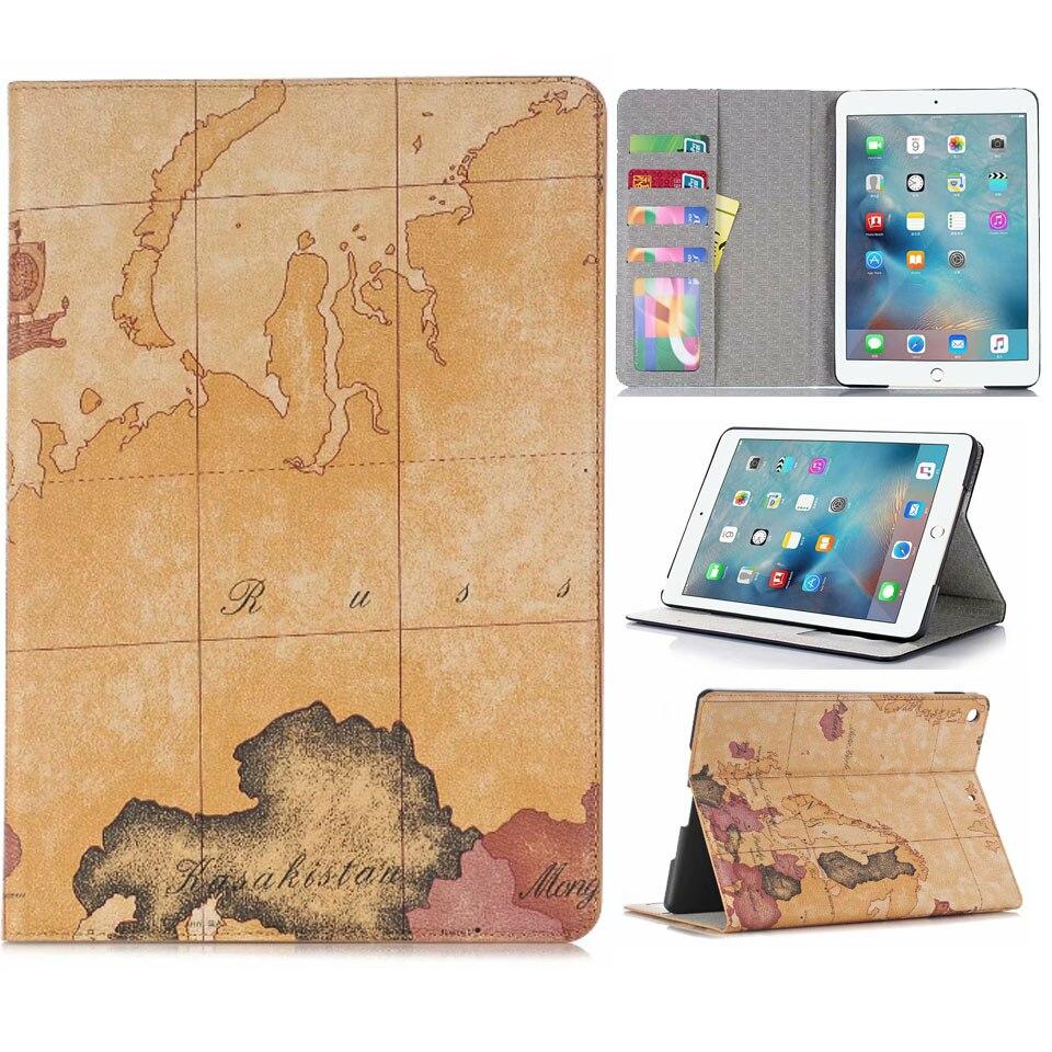 Luxury Folio Coque for iPad 7th 10 2 Case Crocodile Map PU Card Slot Stand A2198