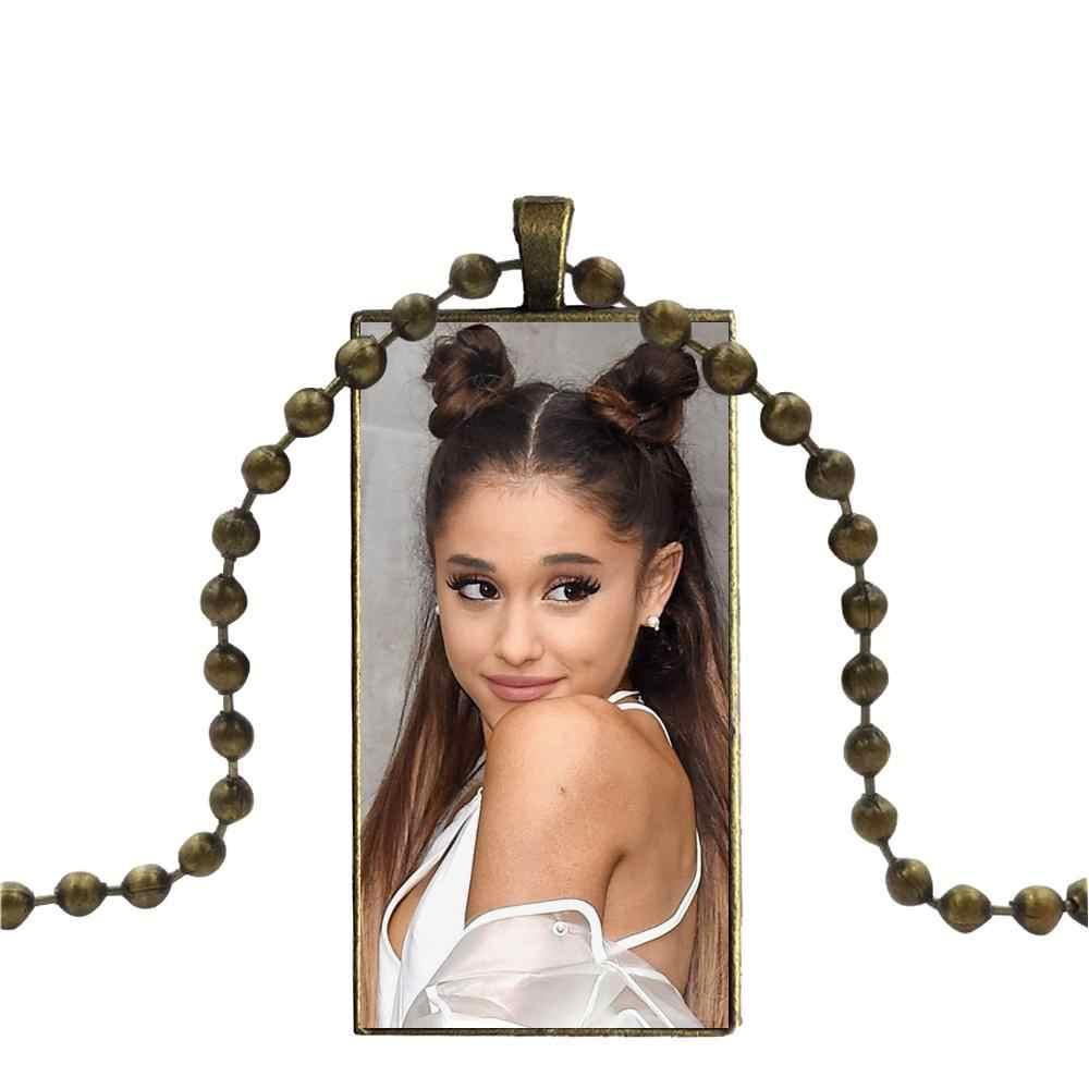 Kaca Cabochon Kalung Liontin Persegi Panjang Kalung Steel Warna Perhiasan UNTUK WANITA Perhiasan Ariana Grande Penyanyi Lucu S