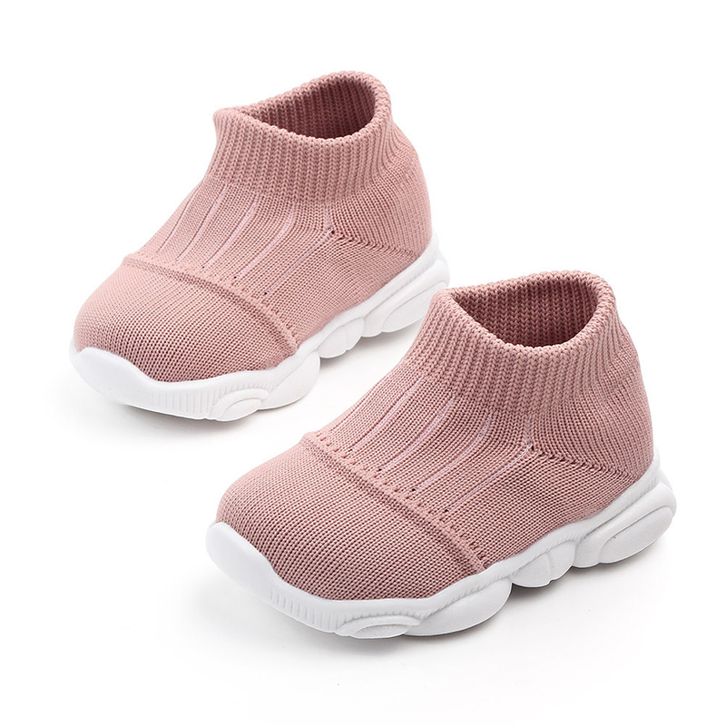 New Solid Color Casual Kids Shoes Soft Soled Breathable Stretch Mesh Boys Girls Shoes Children Shoes Sports Sneakers