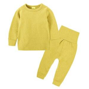 Image 3 - Intimo termico per bambini a vita alta Set neonato primavera autunno abiti bambini cotone vita alta abbigliamento per la casa neonato ragazza indumenti da notte