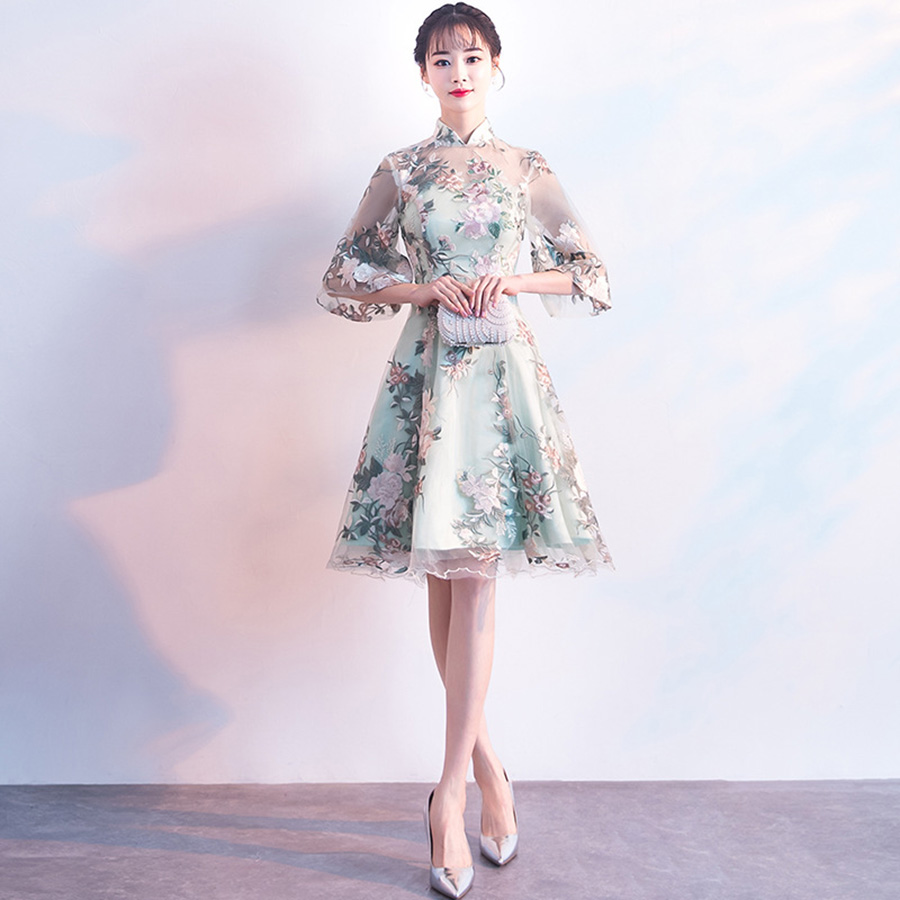 Cocktail Dress MX044 Floral Print A-line Vestidos De Coctel 2019 High Collar Half-sleeve Women Party Dresses Elegant Formal Gown